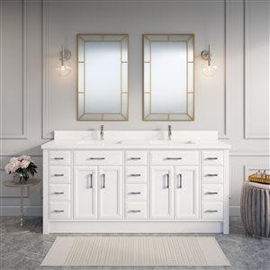 Spa Bathe Calumet 75-in Double Sink White Bathroom Vanity with Quartz Top