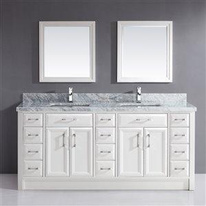 Spa Bathe Calumet 75-in Double Sink White Bathroom Vanity with Marble Top