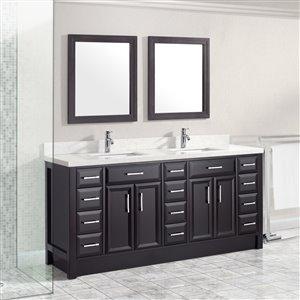 Spa Bathe Calumet 75-in Double SInk Espresso Bathroom Vanity with Quartz Top