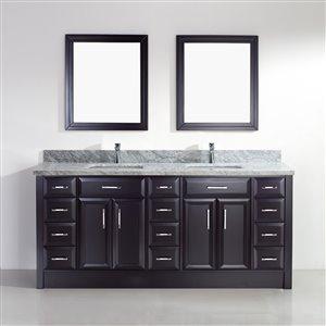 Spa Bathe Calumet 75-in Double Sink Espresso Bathroom Vanity with Marble Top