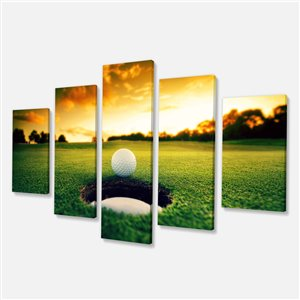 Designart Canada Golf Ball Near Hole 32-in x 60-in 5 Panels Wall Art