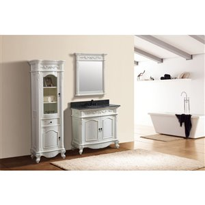 Avanity Provence 37-in Single Sink White Bathroom Vanity with Granite Top