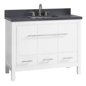 Azzuri Riley 43-in Single Sink White Bathroom Vanity with Quartz Top