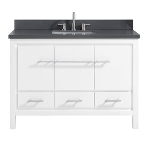 Azzuri Riley 49-in Single Sink White Bathroom Vanity with Quartz Top