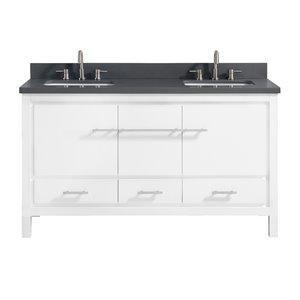 Azzuri Riley 61-in Double Sink White Bathroom Vanity with Quartz Top