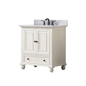 Avanity Thompson 31-in Single Sink French White Bathroom Vanity with Marble Top