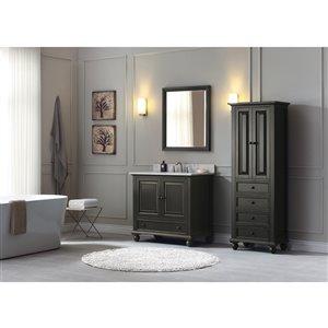 Avanity Thompson 37-in Single Sink Charcoal Bathroom Vanity with Marble Top