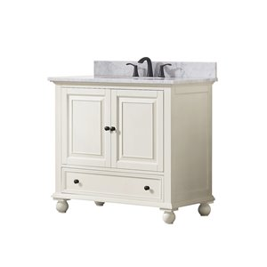 Avanity Thompson 37-in Single Sink French White Bathroom Vanity with Marble Top