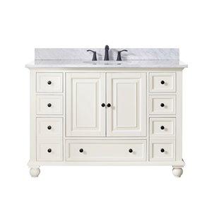 Avanity Thompson 49-in Single Sink White Bathroom Vanity With Marble Top