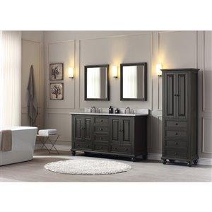Avanity Thompson 61-in Double Sink Charcoal Bathroom Vanity with Marble Top