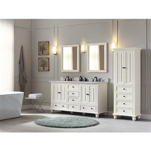 Avanity Thompson 61-in Double Sink French White Bathroom Vanity with Marble Top