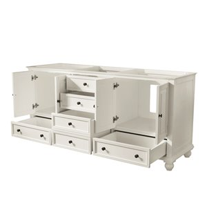 Avanity Thompson 73-in Double Sink French White Bathroom Vanity with Marble Top