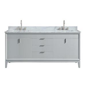 Avanity Emma 73-in Gray Double Sink Marble Top Vanity