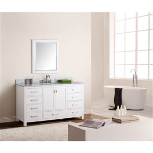 Avanity Modero 61-in Single Sink White Bathroom Vanity with Marble Top