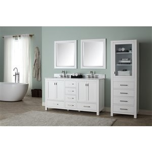 Avanity Modero 61-in Double Sink White Bathroom Vanity with Marble Top