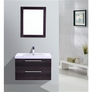 GEF Amira Vanity with Acrylic Top, 32-in Distressed Oak