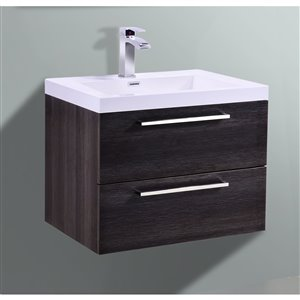 GEF Amira Vanity with Acrylic Top, 24-in Distressed Oak