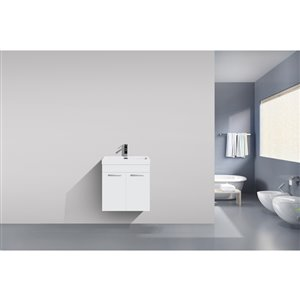 GEF Rosalie Vanity with Acrylic Top, 20-in White