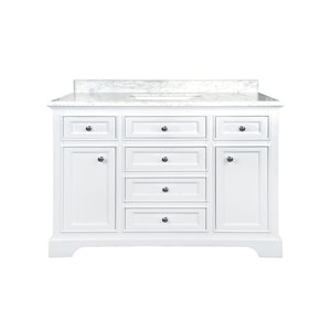 GEF Brielle Vanity with Carrara Marble Top, 48-in White