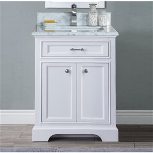 GEF Brielle Vanity with Carrara Marble Top, 24-in White