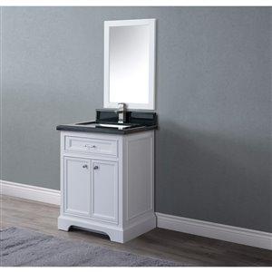 GEF Brielle Vanity with Black Granite Top, 24-in White