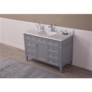 GEF Catalina Vanity with Carrara Marble Top, 48-in Grey