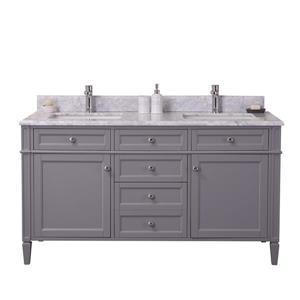 GEF Catalina Vanity with Carrara Marble Top, 60-in Grey