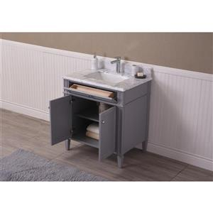 GEF Catalina Vanity with Carrara Marble Top, 30-in Grey