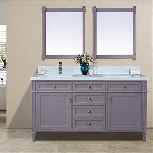 GEF Catalina Vanity with  White Quartz Top, 60-in Grey