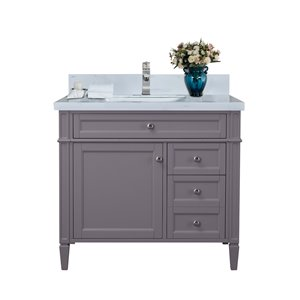 GEF Catalina Vanity with  White Quartz Top, 36-in Grey