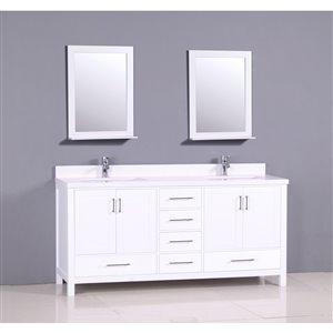GEF Sienna Vanity with White Quartz Top, 72-in White