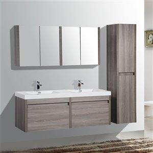 GEF Selena Vanity with Acrylic Top, 60-in Maple Grey Double Sink