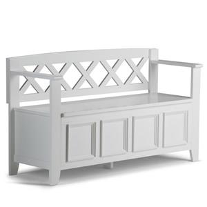 Simpli Home Amherst 48-in White Wooden Stroage Indoor Bench