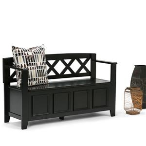 Simpli Home Amherst 48-in Black Wooden Stroage Indoor Bench