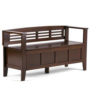 Simpli Home Adams 36.30-Lbs Heigth 25.30-In Length 48-In Depth 17-In Rustic Brown Stroage Indoor Bench