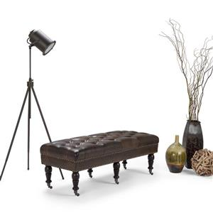 Simpli Home Henley 50-in x 20-in x 18-in Distressed Brown Tufted Ottoman