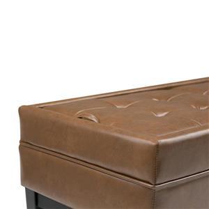 Simpli Home Castlerock 42.1-in x 19.7-in x 16.9-in Burnt Umber Tan Large Storage Ottoman Bench