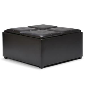 Simpli Home Avalon 35-in x 35-in x 18-in Tanners Brown Coffee Table Storage Ottoman