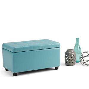 Simpli Home Cosmopolitan 33.5-in x 17.3-in x 17.7-in Soft Blue Medium Storage Ottoman Bench