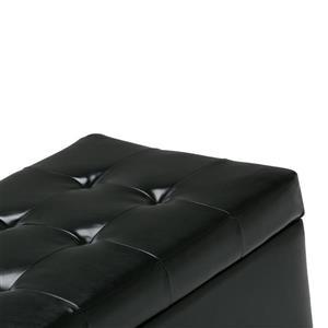 Simpli Home Cosmopolitan 33.5-in x 17.3-in x 17.7-in Midnight Black Medium Storage Ottoman Bench