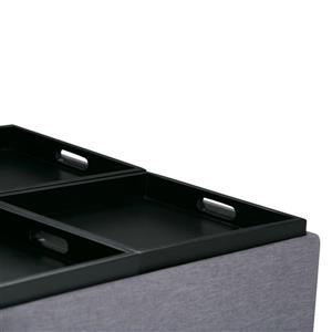 Simpli Home Avalon 35-in x 35-in x 18-in Slate Grey Coffee Table Storage Ottoman