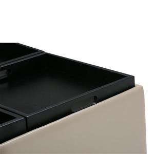 Simpli Home Avalon 35-in x 35-in x 18-in Satin Cream Coffee Table Storage Ottoman