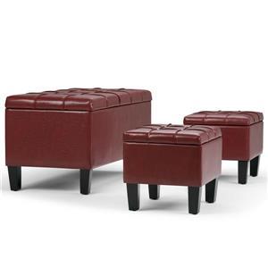 Simpli Home Dover Radicchio Red 3-Piece Storage Ottoman Bench