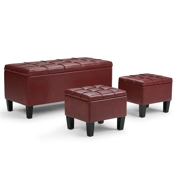 Astounding Simpli Home Dover Radicchio Red 3 Piece Storage Ottoman Evergreenethics Interior Chair Design Evergreenethicsorg