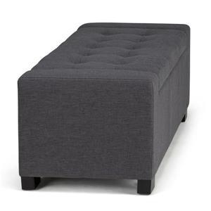 Simpli Home Laredo 51-in x 20.1-in x 17.3-in Slate Grey Large Storage Ottoman Bench
