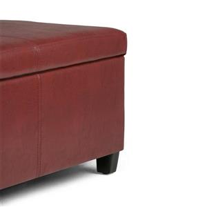 Simpli Home Avalon 48-in x 18-in x 16-in Red Large Storage Ottoman Bench