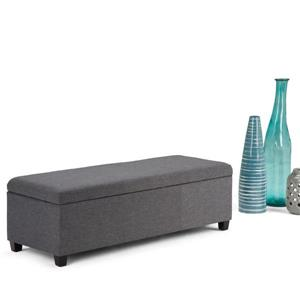Simpli Home Avalon 48-in x 18-in x 16-in Slate Grey Large Storage Ottoman Bench