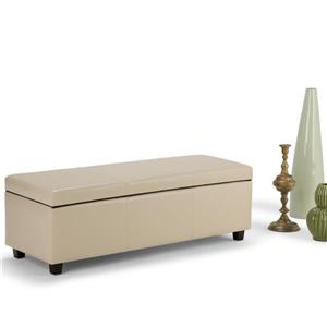 Simpli Home Avalon 48-in x 18-in x 16-in Satin Cream Large Storage Ottoman Bench