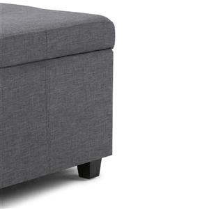 Simpli Home Castleford 48-in x 17-in x 16-in Slate Grey Large Storage Ottoman Bench