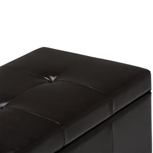 Simpli Home Castleford 48-in x 17-in x 16-in Coffee Brown Large Storage Ottoman Bench